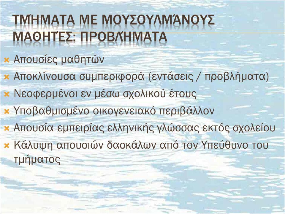  Απουσίες μαθητών  Αποκλίνουσα συμπεριφορά (εντάσεις / προβλήματα)  Νεοφερμένοι εν μέσω σχολικού έτους  Υποβαθμισμένο οικογενειακό περιβάλλον  Απουσία εμπειρίας ελληνικής γλώσσας εκτός σχολείου  Κάλυψη απουσιών δασκάλων από τον Υπεύθυνο του τμήματος