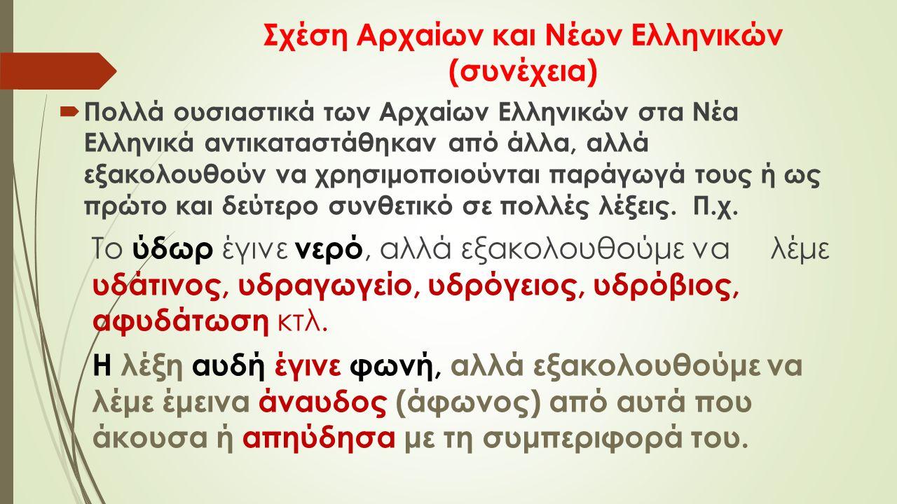 Σχέση Αρχαίων και Νέων Ελληνικών (συνέχεια)  Πολλά ουσιαστικά των Αρχαίων Ελληνικών στα Νέα Ελληνικά αντικαταστάθηκαν από άλλα, αλλά εξακολουθούν να χρησιμοποιούνται παράγωγά τους ή ως πρώτο και δεύτερο συνθετικό σε πολλές λέξεις.