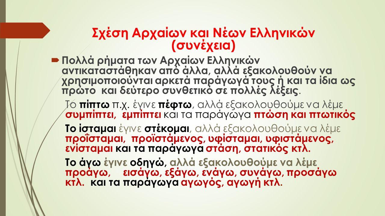 Σχέση Αρχαίων και Νέων Ελληνικών (συνέχεια)  Πολλά ρήματα των Αρχαίων Ελληνικών αντικαταστάθηκαν από άλλα, αλλά εξακολουθούν να χρησιμοποιούνται αρκετά παράγωγά τους ή και τα ίδια ως πρώτο και δεύτερο συνθετικό σε πολλές λέξεις.