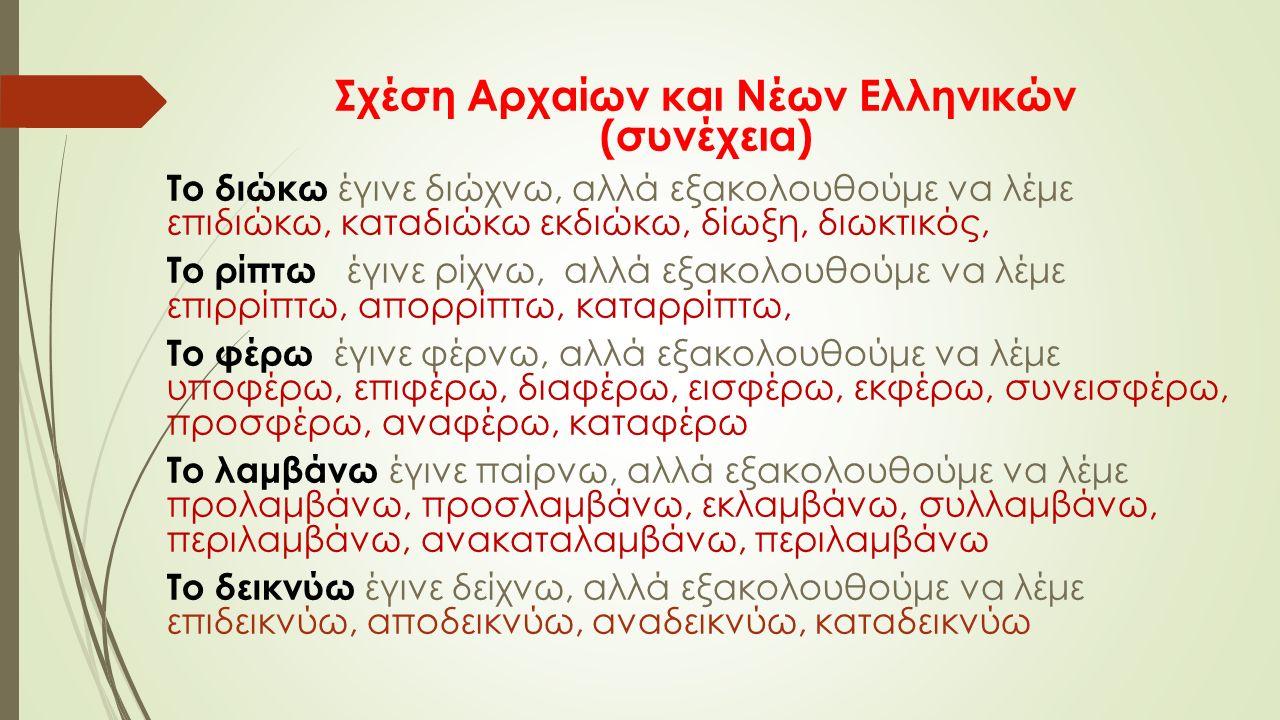 Σχέση Αρχαίων και Νέων Ελληνικών (συνέχεια) Το διώκω έγινε διώχνω, αλλά εξακολουθούμε να λέμε επιδιώκω, καταδιώκω εκδιώκω, δίωξη, διωκτικός, Το ρίπτω έγινε ρίχνω, αλλά εξακολουθούμε να λέμε επιρρίπτω, απορρίπτω, καταρρίπτω, Το φέρω έγινε φέρνω, αλλά εξακολουθούμε να λέμε υποφέρω, επιφέρω, διαφέρω, εισφέρω, εκφέρω, συνεισφέρω, προσφέρω, αναφέρω, καταφέρω Το λαμβάνω έγινε παίρνω, αλλά εξακολουθούμε να λέμε προλαμβάνω, προσλαμβάνω, εκλαμβάνω, συλλαμβάνω, περιλαμβάνω, ανακαταλαμβάνω, περιλαμβάνω Το δεικνύω έγινε δείχνω, αλλά εξακολουθούμε να λέμε επιδεικνύω, αποδεικνύω, αναδεικνύω, καταδεικνύω