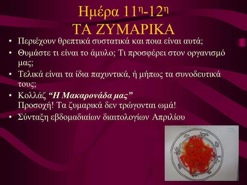 Ημέρα 11 η -12 η ΤΑ ΖΥΜΑΡΙΚΑ Περιέχουν θρεπτικά συστατικά και ποια είναι αυτά; Θυμάστε τι είναι το άμυλο; Τι προσφέρει στον οργανισμό μας; Τελικά είναι τα ίδια παχυντικά, ή μήπως τα συνοδευτικά τους; Κολλάζ Η Μακαρονάδα μας Προσοχή.