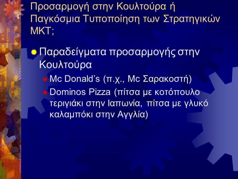 Προσαρμογή στην Κουλτούρα ή Παγκόσμια Τυποποίηση των Στρατηγικών ΜΚΤ;  Παραδείγματα προσαρμογής στην Κουλτούρα  Mc Donald's (π.χ., Mc Σαρακοστή)  Dominos Pizza (πίτσα με κοτόπουλο τεριγιάκι στην Ιαπωνία, πίτσα με γλυκό καλαμπόκι στην Αγγλία)