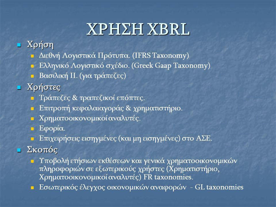 XBRL στην Ευρώπη Εφαρμογή Βέλγιο Ιρλανδία Γερμανία Ισπανία Ολλανδία Ηνωμένο Βασίλειο Προσωρινή Εφαρμογή Σουηδία Δανία Γαλλία Πολωνία Μελλοντική Εφαρμογή Ιταλία Λουξεμβούργο Ελλάδα Ελβετία Πορτογαλία