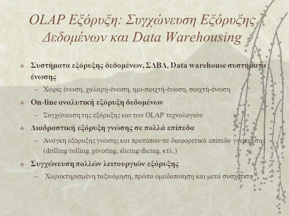 OLAP Εξόρυξη: Συγχώνευση Εξόρυξης Δεδομένων και Data Warehousing  Συστήματα εξόρυξης δεδομένων, ΣΔΒΔ, Data warehouse συστήματα ένωσης –Χωρίς ένωση, χαλαρή-ένωση, ημι-σφιχτή-ένωση, σφιχτή-ένωση  On-line αναλυτική εξόρυξη δεδομένων –Συγχώνευση της εξόρυξης και των OLAP τεχνολογιών  Διαδραστική εξόρυξη γνώσης σε πολλά επίπεδα –Ανάγκη εξόρυξης γνώσης και προτύπων σε διαφορετικά επίπεδα γενίκευσης (drilling/rolling, pivoting, slicing/dicing, κτλ.)  Συγχώνευση πολλών λειτουργιών εξόρυξης – Χαρακτηρισμένη ταξινόμηση, πρώτα ομαδοποίηση και μετά συσχέτιση