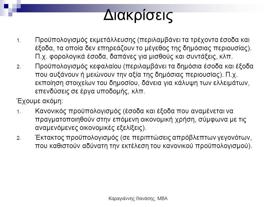 Καραγιάννης Θανάσης, ΜΒΑ Σύγχρονη πρακτική Συντάσσεται ο Γενικός Κρατικός Προϋπολογισμός, ο οποίος περιλαμβάνει: 1.