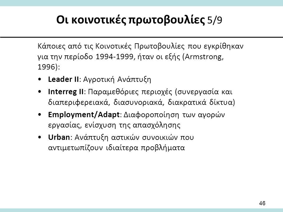 Οι κοινοτικές πρωτοβουλίες 5/9 46 Κάποιες από τις Κοινοτικές Πρωτοβουλίες που εγκρίθηκαν για την περίοδο 1994-1999, ήταν οι εξής (Armstrong, 1996): Leader II: Αγροτική Ανάπτυξη Interreg II: Παραμεθόριες περιοχές (συνεργασία και διαπεριφερειακά, διασυνοριακά, διακρατικά δίκτυα) Employment/Adapt: Διαφοροποίηση των αγορών εργασίας, ενίσχυση της απασχόλησης Urban: Ανάπτυξη αστικών συνοικιών που αντιμετωπίζουν ιδιαίτερα προβλήματα