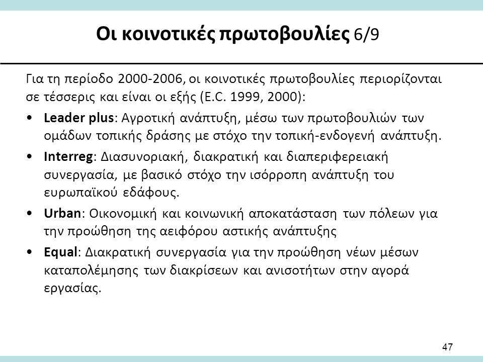 Οι κοινοτικές πρωτοβουλίες 6/9 47 Για τη περίοδο 2000-2006, οι κοινοτικές πρωτοβουλίες περιορίζονται σε τέσσερις και είναι οι εξής (E.C.