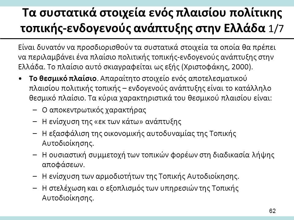 Τα συστατικά στοιχεία ενός πλαισίου πολίτικης τοπικής-ενδογενούς ανάπτυξης στην Ελλάδα 1/7 62 Είναι δυνατόν να προσδιορισθούν τα συστατικά στοιχεία τα οποία θα πρέπει να περιλαμβάνει ένα πλαίσιο πολιτικής τοπικής-ενδογενούς ανάπτυξης στην Ελλάδα.