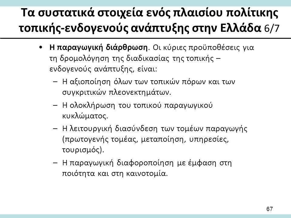 Τα συστατικά στοιχεία ενός πλαισίου πολίτικης τοπικής-ενδογενούς ανάπτυξης στην Ελλάδα 6/7 Η παραγωγική διάρθρωση.