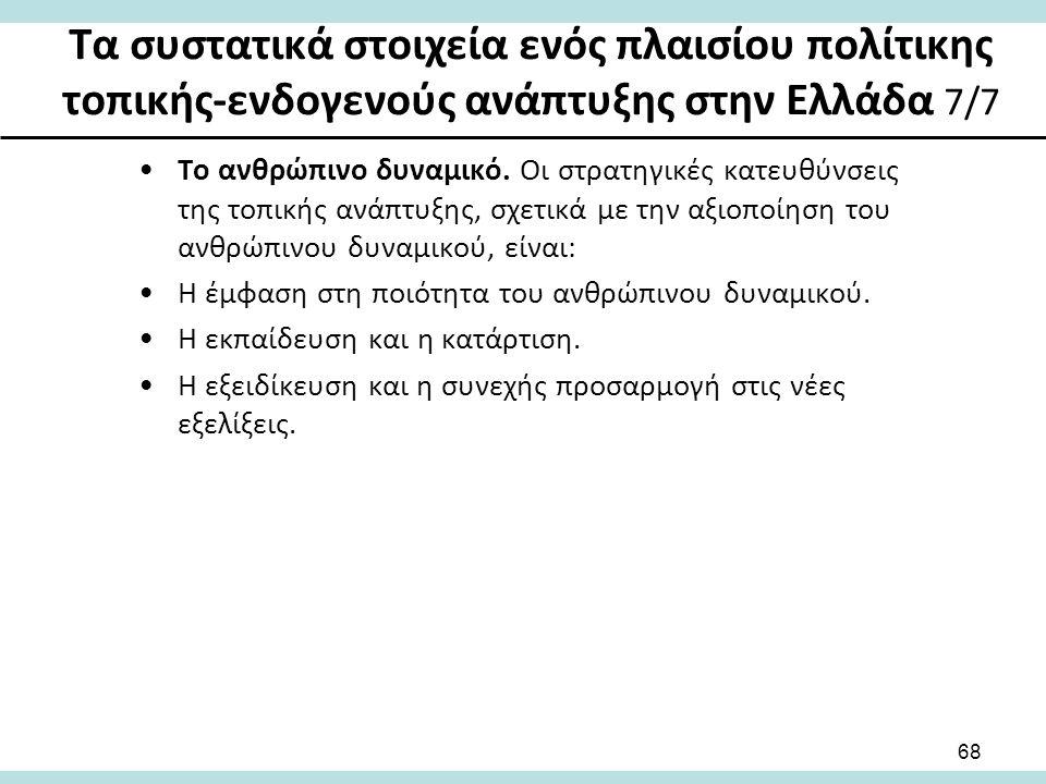 Τα συστατικά στοιχεία ενός πλαισίου πολίτικης τοπικής-ενδογενούς ανάπτυξης στην Ελλάδα 7/7 Το ανθρώπινο δυναμικό.