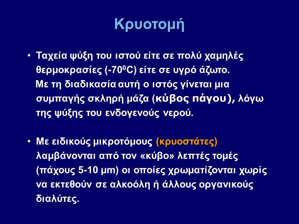Ταχεία ψύξη του ιστού είτε σε πολύ χαμηλές θερμοκρασίες (-70 0 C) είτε σε υγρό άζωτο. Με τη διαδικασία αυτή ο ιστός γίνεται μια συμπαγής σκληρή μάζα (