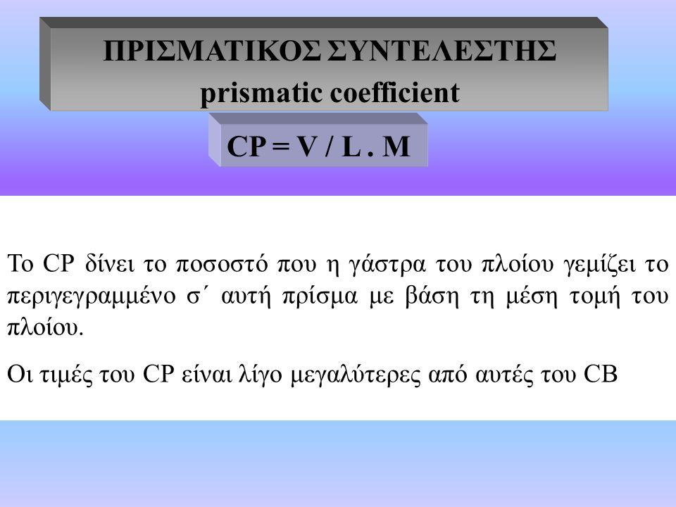 ΠΡΙΣΜΑΤΙΚΟΣ ΣΥΝΤΕΛΕΣΤΗΣ prismatic coefficient Το CΡ δίνει το ποσοστό που η γάστρα του πλοίου γεμίζει το περιγεγραμμένο σ΄ αυτή πρίσμα με βάση τη μέση τομή του πλοίου.