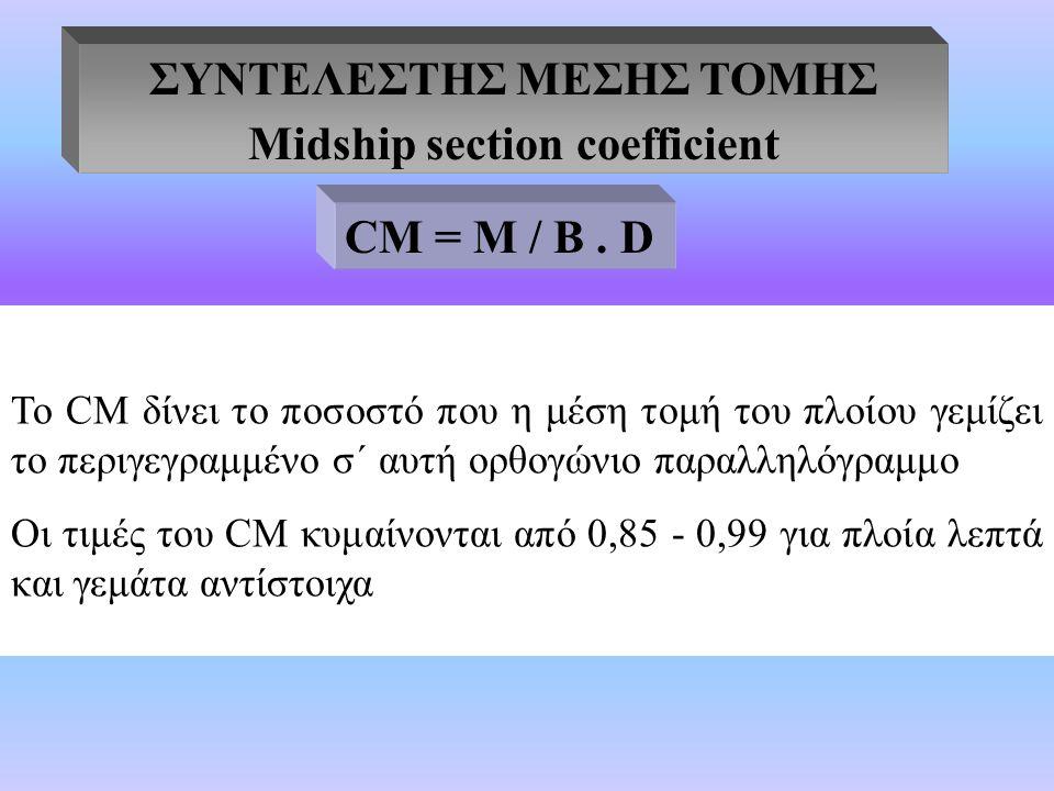 ΣΥΝΤΕΛΕΣΤΗΣ ΜΕΣΗΣ ΤΟΜΗΣ Midship section coefficient Το CΜ δίνει το ποσοστό που η μέση τομή του πλοίου γεμίζει το περιγεγραμμένο σ΄ αυτή ορθογώνιο παραλληλόγραμμο Οι τιμές του CΜ κυμαίνονται από 0,85 - 0,99 για πλοία λεπτά και γεμάτα αντίστοιχα CΜ = Μ / B.
