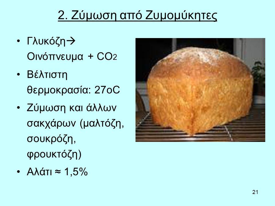 21 2. Ζύμωση από Ζυμομύκητες Γλυκόζη  Οινόπνευμα + CO 2 Βέλτιστη θερμοκρασία: 27οC Ζύμωση και άλλων σακχάρων (μαλτόζη, σουκρόζη, φρουκτόζη) Αλάτι ≈ 1