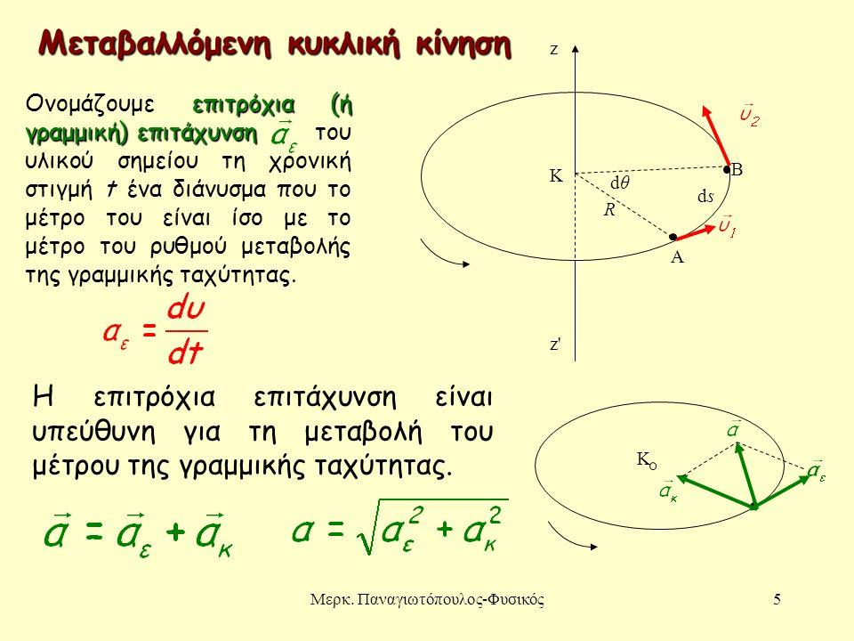 Μερκ. Παναγιωτόπουλος-Φυσικός5 R dθdθ dsds A B K z z'z' Μεταβαλλόμενη κυκλική κίνηση Κ επιτρόχια (ή γραμμική) επιτάχυνση Ονομάζουμε επιτρόχια (ή γραμμ