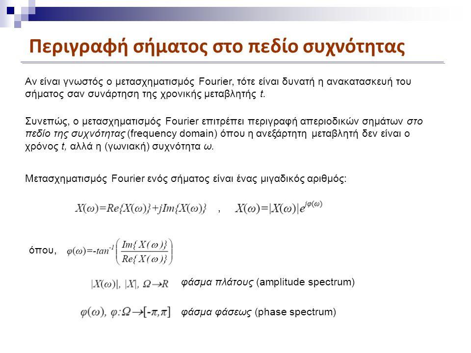 Περιγραφή σήματος στο πεδίο συχνότητας Αν είναι γνωστός ο μετασχηματισμός Fourier, τότε είναι δυνατή η ανακατασκευή του σήματος σαν συνάρτηση της χρονικής μεταβλητής t.
