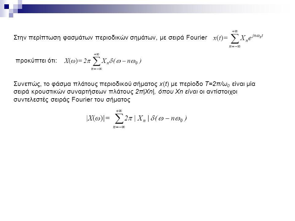 Στην περίπτωση φασμάτων περιοδικών σημάτων, με σειρά Fourier προκύπτει ότι: Συνεπώς, το φάσμα πλάτους περιοδικού σήματος x(t) με περίοδο T=2π/ω 0 είναι μία σειρά κρουστικών συναρτήσεων πλάτους 2π|Χn|, όπου Xn είναι οι αντίστοιχοι συντελεστές σειράς Fourier του σήματος