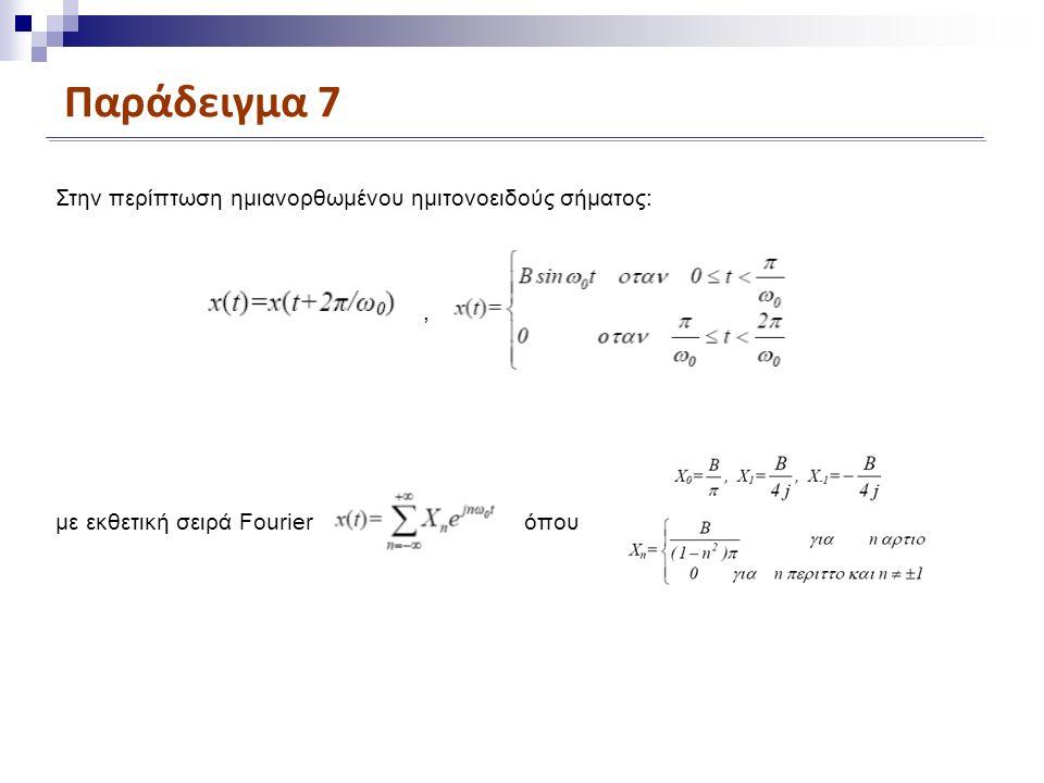 Παράδειγμα 7 Στην περίπτωση ημιανορθωμένου ημιτονοειδούς σήματος:, με εκθετική σειρά Fourierόπου