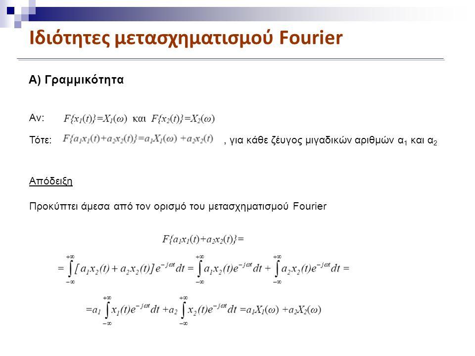 Ιδιότητες μετασχηματισμού Fourier Α) Γραμμικότητα Αν: Τότε:, για κάθε ζέυγος μιγαδικών αριθμών α 1 και α 2 Απόδειξη Προκύπτει άμεσα από τον ορισμό του μετασχηματισμού Fourier