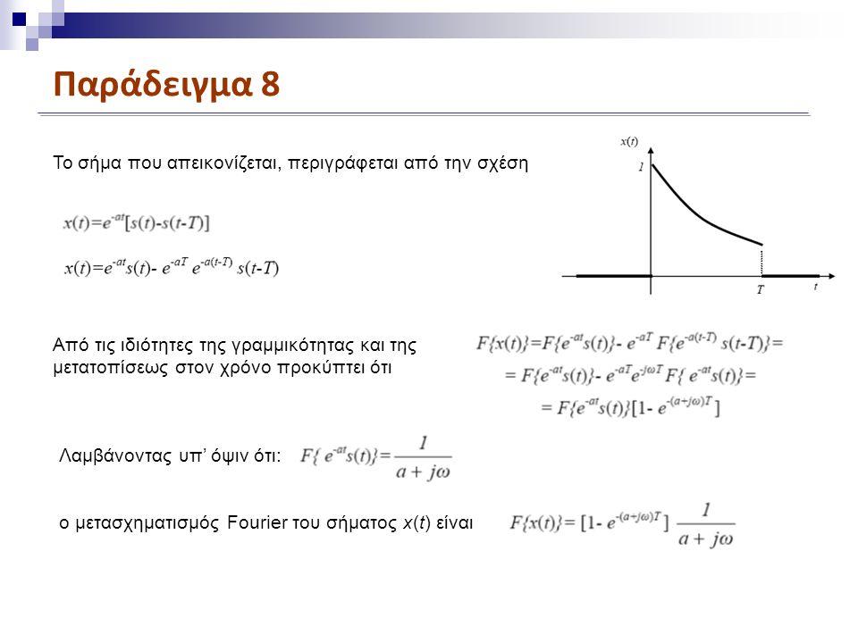 Παράδειγμα 8 To σήμα που απεικονίζεται, περιγράφεται από την σχέση Aπό τις ιδιότητες της γραμμικότητας και της μετατοπίσεως στον χρόνο προκύπτει ότι Λαμβάνοντας υπ' όψιν ότι: ο μετασχηματισμός Fourier του σήματος x(t) είναι