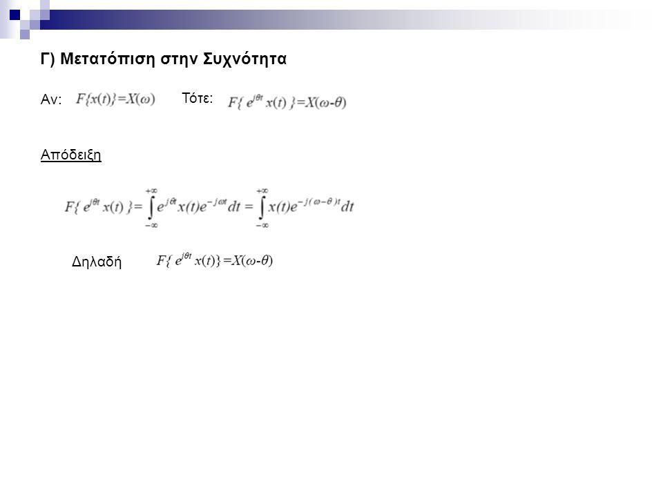 Γ) Μετατόπιση στην Συχνότητα Αν: Τότε: Απόδειξη Δηλαδή