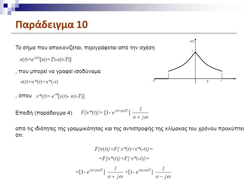 Παράδειγμα 10 To σήμα που απεικονίζεται, περιγράφεται από την σχέση από τις ιδιότητες της γραμμικότητας και της αντιστροφής της κλίμακας του χρόνου προκύπτει ότι:, που μπορεί να γραφεί ισοδύναμα, όπου Επειδή (παράδειγμα 4)