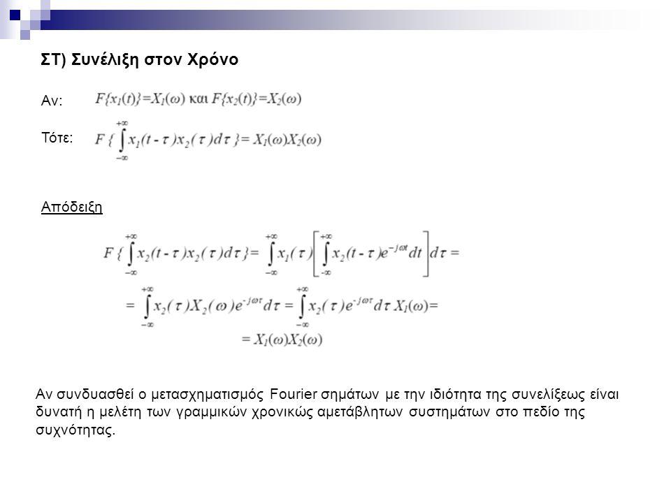 ΣΤ) Συνέλιξη στον Χρόνο Αν: Τότε: Απόδειξη Αν συνδυασθεί ο μετασχηματισμός Fourier σημάτων με την ιδιότητα της συνελίξεως είναι δυνατή η μελέτη των γραμμικών χρονικώς αμετάβλητων συστημάτων στο πεδίο της συχνότητας.