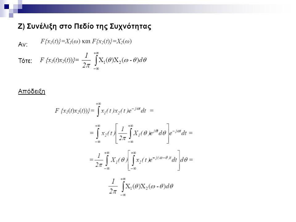 Ζ) Συνέλιξη στο Πεδίο της Συχνότητας Αν: Τότε: Απόδειξη