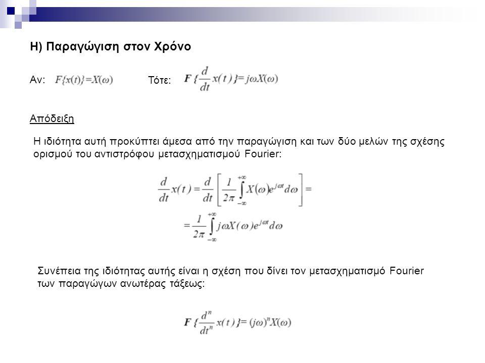 Η) Παραγώγιση στον Χρόνο Αν: Τότε: Απόδειξη H ιδιότητα αυτή προκύπτει άμεσα από την παραγώγιση και των δύο μελών της σχέσης ορισμού του αντιστρόφου μετασχηματισμού Fourier: Συνέπεια της ιδιότητας αυτής είναι η σχέση που δίνει τον μετασχηματισμό Fourier των παραγώγων ανωτέρας τάξεως: