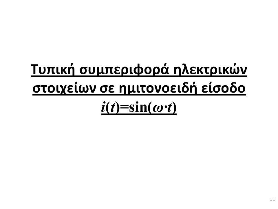 Τυπική συμπεριφορά ηλεκτρικών στοιχείων σε ημιτονοειδή είσοδο i(t)=sin(ω∙t) 11
