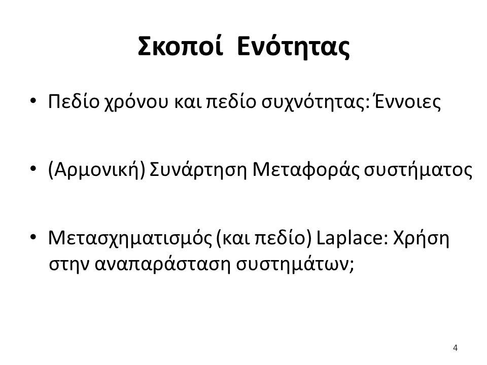 Περιεχόμενα Ενότητας Μαθηματική εξομοίωση στο πεδίο συχνότητας Τυπική συμπεριφορά ηλεκτρικών στοιχείων σε ημιτονοειδή είσοδο i(t)=sin(ω∙t) Παράδειγμα ηλεκτρικού συστήματος Συμπεράσματα Παρατηρήσεις 5
