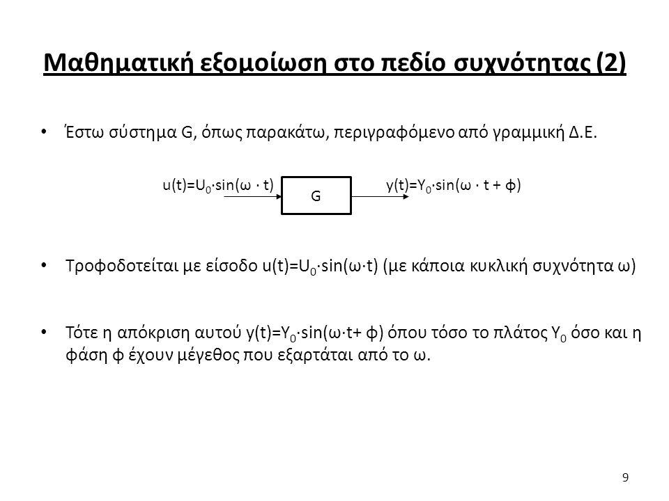 Μαθηματική εξομοίωση στο πεδίο συχνότητας (2) Έστω σύστημα G, όπως παρακάτω, περιγραφόμενο από γραμμική Δ.Ε.
