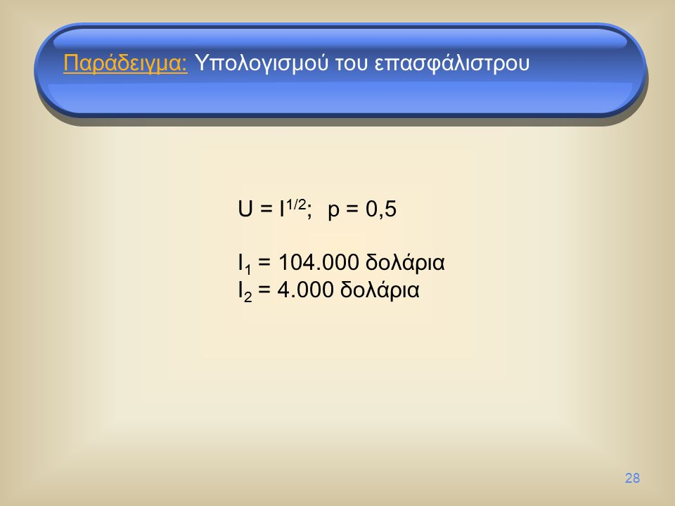 28 U = I 1/2 ; p = 0,5 I 1 = 104.000 δολάρια I 2 = 4.000 δολάρια Παράδειγμα: Υπολογισμού του επασφάλιστρου