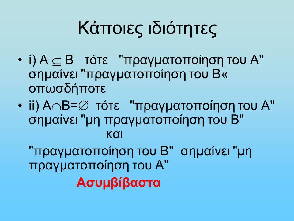 Κάποιες ιδιότητες i) Α  Β τότε πραγματοποίηση του Α σημαίνει πραγματοποίηση του Β« οπωσδήποτε ii) Α  Β=  τότε πραγματοποίηση του Α σημαίνει μη πραγματοποίηση του Β και πραγματοποίηση του Β σημαίνει μη πραγματοποίηση του Α Ασυμβίβαστα