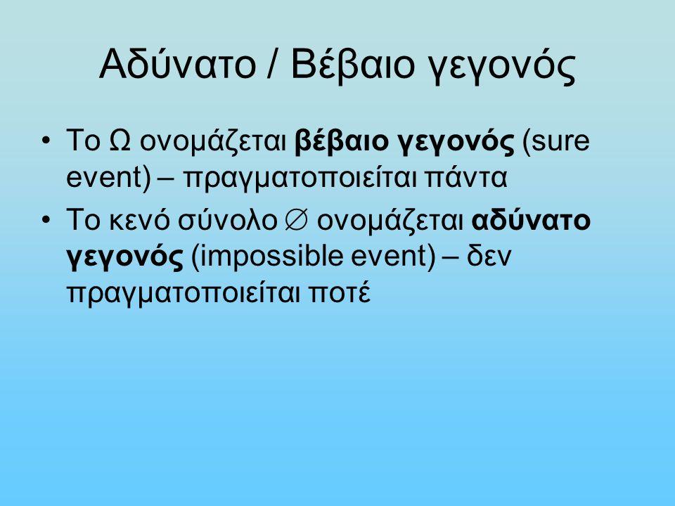 Αδύνατο / Βέβαιο γεγονός Το Ω ονομάζεται βέβαιο γεγονός (sure event) – πραγματοποιείται πάντα Το κενό σύνολο  ονομάζεται αδύνατο γεγονός (impossible event) – δεν πραγματοποιείται ποτέ