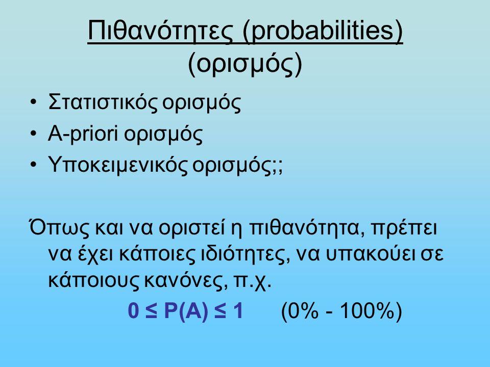 Πιθανότητες (probabilities) (ορισμός) Στατιστικός ορισμός Α-priori ορισμός Υποκειμενικός ορισμός;; Όπως και να οριστεί η πιθανότητα, πρέπει να έχει κάποιες ιδιότητες, να υπακούει σε κάποιους κανόνες, π.χ.