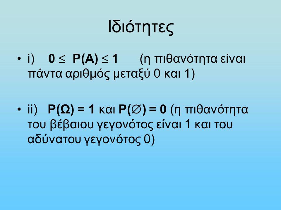 Ιδιότητες i) 0  P(A)  1 (η πιθανότητα είναι πάντα αριθμός μεταξύ 0 και 1) ii) P(Ω) = 1 και P(  ) = 0 (η πιθανότητα του βέβαιου γεγονότος είναι 1 και του αδύνατου γεγονότος 0)
