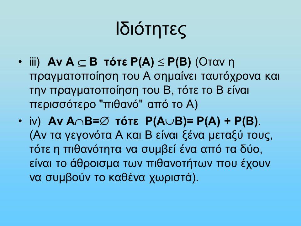 Ιδιότητες iii) Αν Α  Β τότε Ρ(Α)  Ρ(Β) (Οταν η πραγματοποίηση του Α σημαίνει ταυτόχρονα και την πραγματοποίηση του Β, τότε το Β είναι περισσότερο πιθανό από το Α) iv) Αν Α  Β=  τότε Ρ(Α  Β)= Ρ(Α) + Ρ(Β).