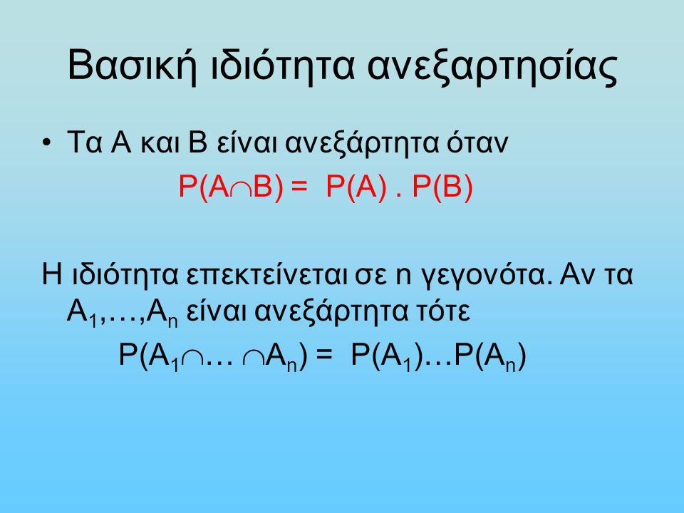 Βασική ιδιότητα ανεξαρτησίας Τα Α και Β είναι ανεξάρτητα όταν Ρ(Α  Β) = P(Α). Ρ(Β) Η ιδιότητα επεκτείνεται σε n γεγονότα. Αν τα Α 1,…,Α n είναι ανεξά