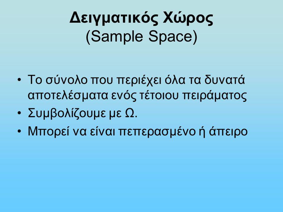 Δειγματικός Χώρος (Sample Space) Το σύνολο που περιέχει όλα τα δυνατά αποτελέσματα ενός τέτοιου πειράματος Συμβολίζουμε με Ω. Μπορεί να είναι πεπερασμ