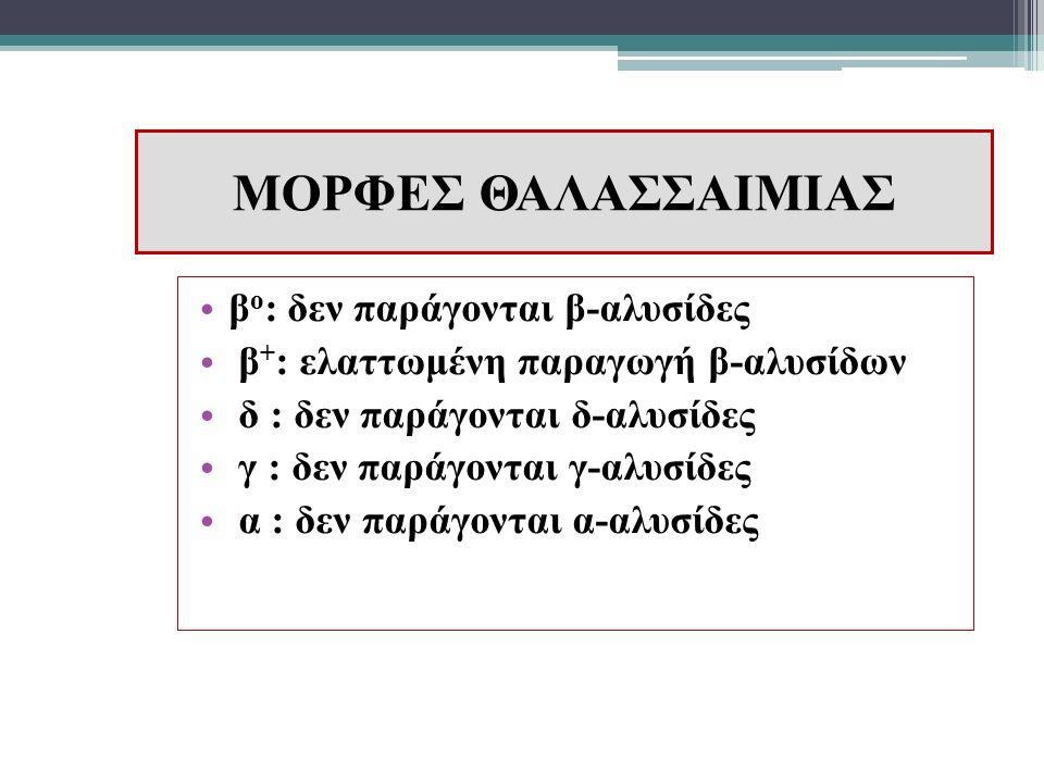 ΜΟΡΦΕΣ ΘΑΛΑΣΣΑΙΜΙΑΣ β o : δεν παράγονται β-αλυσίδες β + : ελαττωμένη παραγωγή β-αλυσίδων δ : δεν παράγονται δ-αλυσίδες γ : δεν παράγονται γ-αλυσίδες α