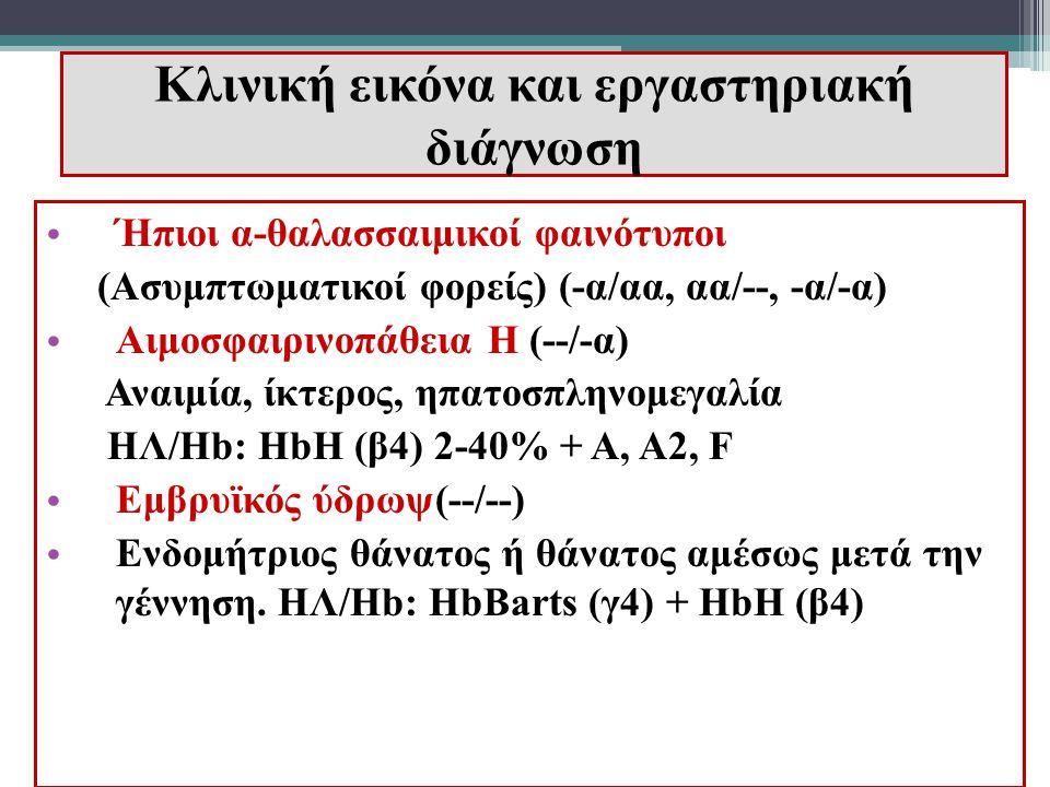Κλινική εικόνα και εργαστηριακή διάγνωση Ήπιοι α-θαλασσαιμικοί φαινότυποι (Ασυμπτωματικοί φορείς) (-α/αα, αα/--, -α/-α) Αιμοσφαιρινοπάθεια Η (--/-α) Α