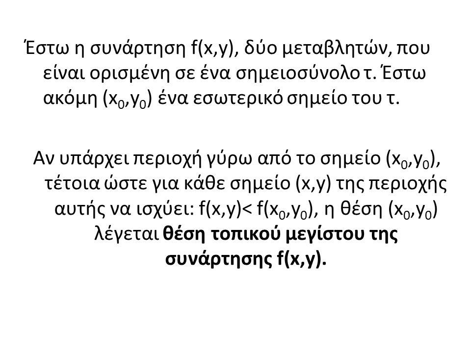 Έστω η συνάρτηση f(x,y), δύο μεταβλητών, που είναι ορισμένη σε ένα σημειοσύνολο τ.
