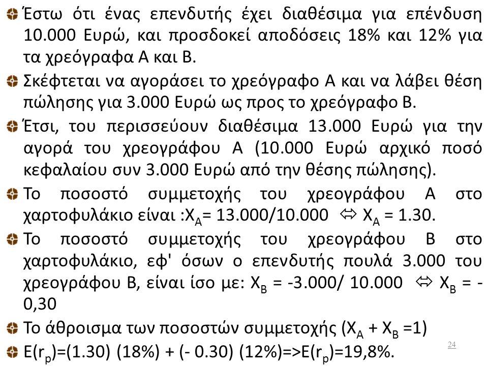 Στα παραδείγματα αυτά ο επενδυτής αγόρασε τα χρεόγραφα με σκοπό να τα πουλήσει αργότερα σε υψηλότερες τιμές. Για το λόγο αυτό και τα ποσοστά π.χ. Χ Α