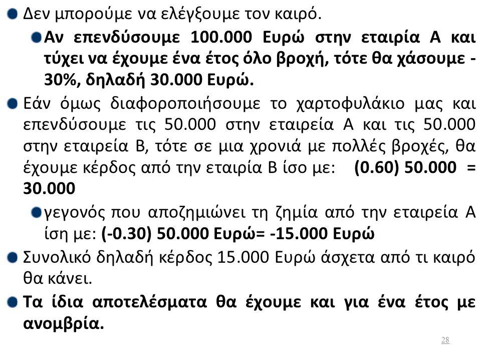 Η προσδοκώμενη τιμή της απόδοσης για έναν επενδυτή που επενδύει αποκλειστικά την τουριστική επιχείρηση, μετοχές Α, θα ισούται: Ε(r Α )=0.50 (-30%)+0.50 (60%)  Ε(r Α ) =15%.