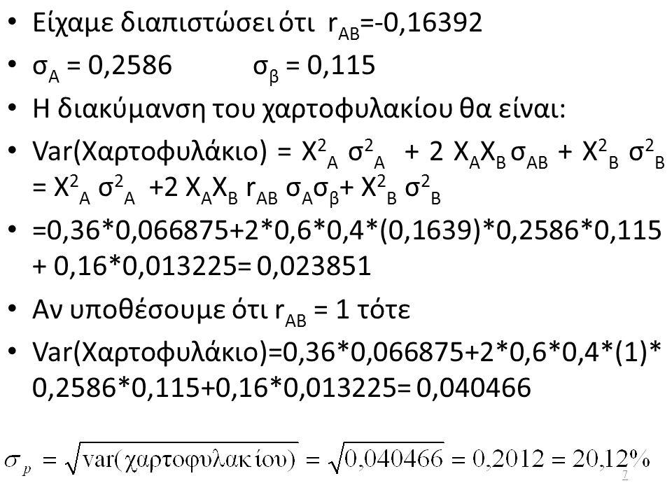 Είχαμε διαπιστώσει ότι r AB =-0,16392 σ Α = 0,2586 σ β = 0,115 Η διακύμανση του χαρτοφυλακίου θα είναι: Var(Χαρτοφυλάκιο) = Χ 2 Α σ 2 Α + 2 Χ Α Χ Β σ ΑΒ + Χ 2 Β σ 2 Β = Χ 2 Α σ 2 Α +2 Χ Α Χ Β r AB σ Α σ β + Χ 2 Β σ 2 Β =0,36*0,066875+2*0,6*0,4*(0,1639)*0,2586*0,115 + 0,16*0,013225= 0,023851 Αν υποθέσουμε ότι r AB = 1 τότε Var(Χαρτοφυλάκιο)=0,36*0,066875+2*0,6*0,4*(1)* 0,2586*0,115+0,16*0,013225= 0,040466 7