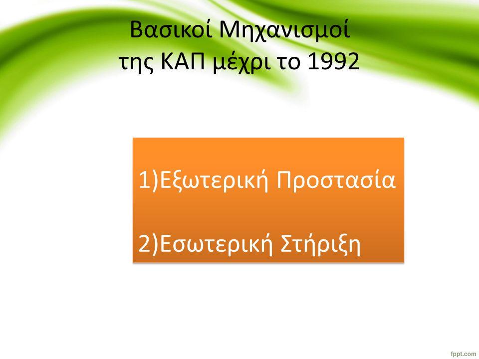 ΤΑΞΙΝΟΜΗΣΗ ΜΕΤΡΩΝ ΠΟΛΙΤΙΚΗΣ Εσωτερική ΣτήριξηΕξωτερική Προστασία Εκμετάλλευση Αγορά 1) Επιδότηση προϊόντος1) Αποθεματοποίηση1) Δασμός στις εισαγωγές 2) Ελλειμματικές πληρωμές2) Επιδότηση στην κατανάλωση 2) Επιδοτήσεις εξαγωγών 3) Επιδότηση μέσων παραγωγής 3) Επενδύσεις σε ανθρώπινο κεφάλαιο 3) Ποσοστώσεις εισαγωγών 4) Ποσοστώσεις 5) Απόσυρση