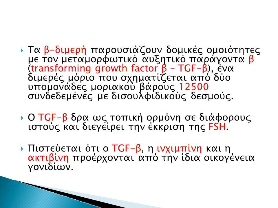  Τα β-διμερή παρουσιάζουν δομικές ομοιότητες με τον μεταμορφωτικό αυξητικό παράγοντα β (transforming growth factor β – TGF-β), ένα διμερές μόριο που
