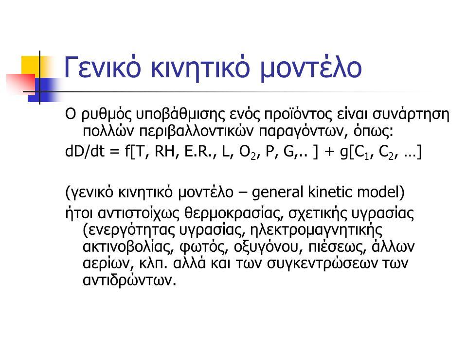 Γενικό κινητικό μοντέλο Ο ρυθμός υποβάθμισης ενός προϊόντος είναι συνάρτηση πολλών περιβαλλοντικών παραγόντων, όπως: dD/dt = f[T, RH, E.R., L, O 2, P, G,..