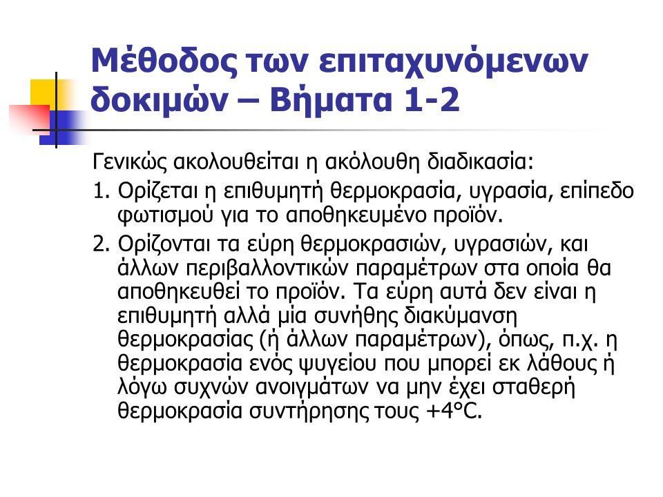 Μέθοδος των επιταχυνόμενων δοκιμών – Βήματα 1-2 Γενικώς ακολουθείται η ακόλουθη διαδικασία: 1.